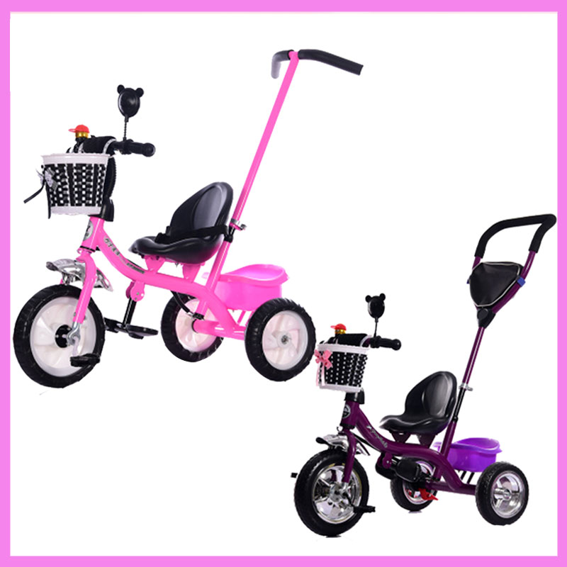 2 in 1 Baby Toddle Child Tricycle Stroller Bike Three Wheel Pushchair Pram Trolley Buggy Bicycle 3Y~5Y baby stroller pram bb rubber wheel inflatable tires child tricycle infant stroller baby bike 1 6 years old bicycle baby car