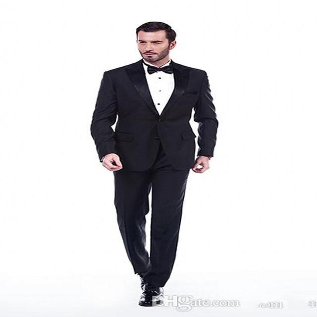 Trajes de boda para el Novio Hombres Tuxedo Negro de Encargo Barato Nuevo 2  Unidades esmoquin 73c8cd82671