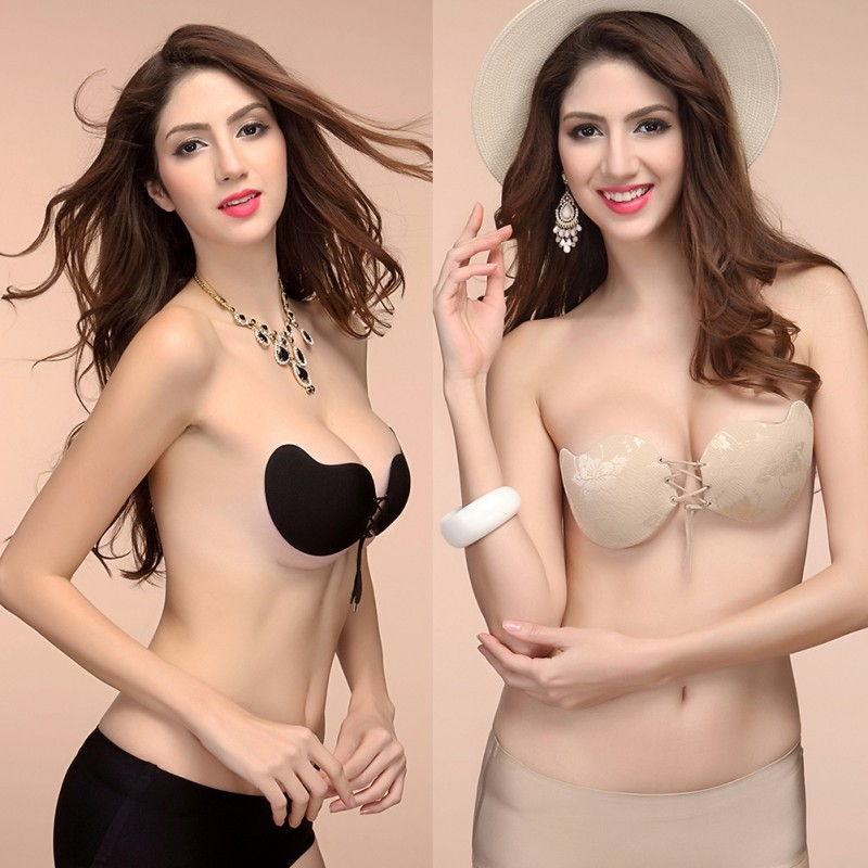 Fashion Women Silicone Adhesive Stick on Gel Push Up Bras Sexy Backless Invisible Bras Skin Black 2