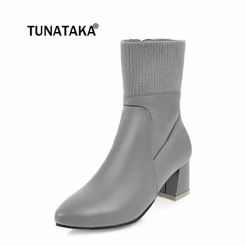 Kadınlar Rahat Düşük Topuk Yan Fermuar yarım çizmeler Moda Sivri Burun Tutmak sıcak Kış Ayakkabı Siyah Pembe Gri Beyaz
