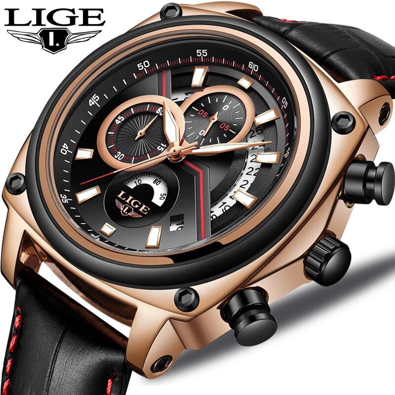 2018 LIGE Relogio Masculino Männer Uhr Casual Mode Top Luxus Marke Sport Uhr Männer Military Wasserdicht Leder uhren