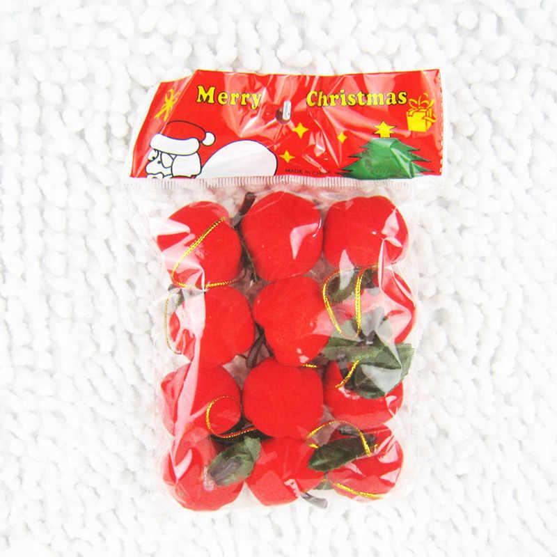 12 unids/bolsa de decoración de Navidad regalos Manzana Roja adorno colgante de árbol de Navidad decoraciones para envolver regalos adornos de Navidad suministros de Navidad
