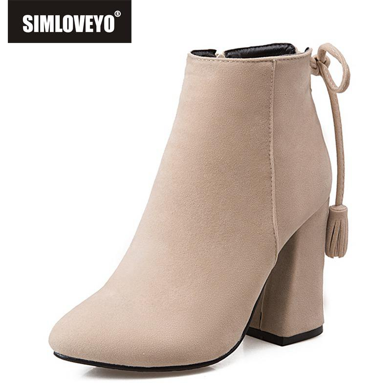 SIMLOVEYO European American women boot s female Flock Side Zip Toe High Heels ankle Boots bowtie zipper botas mujer botines C729