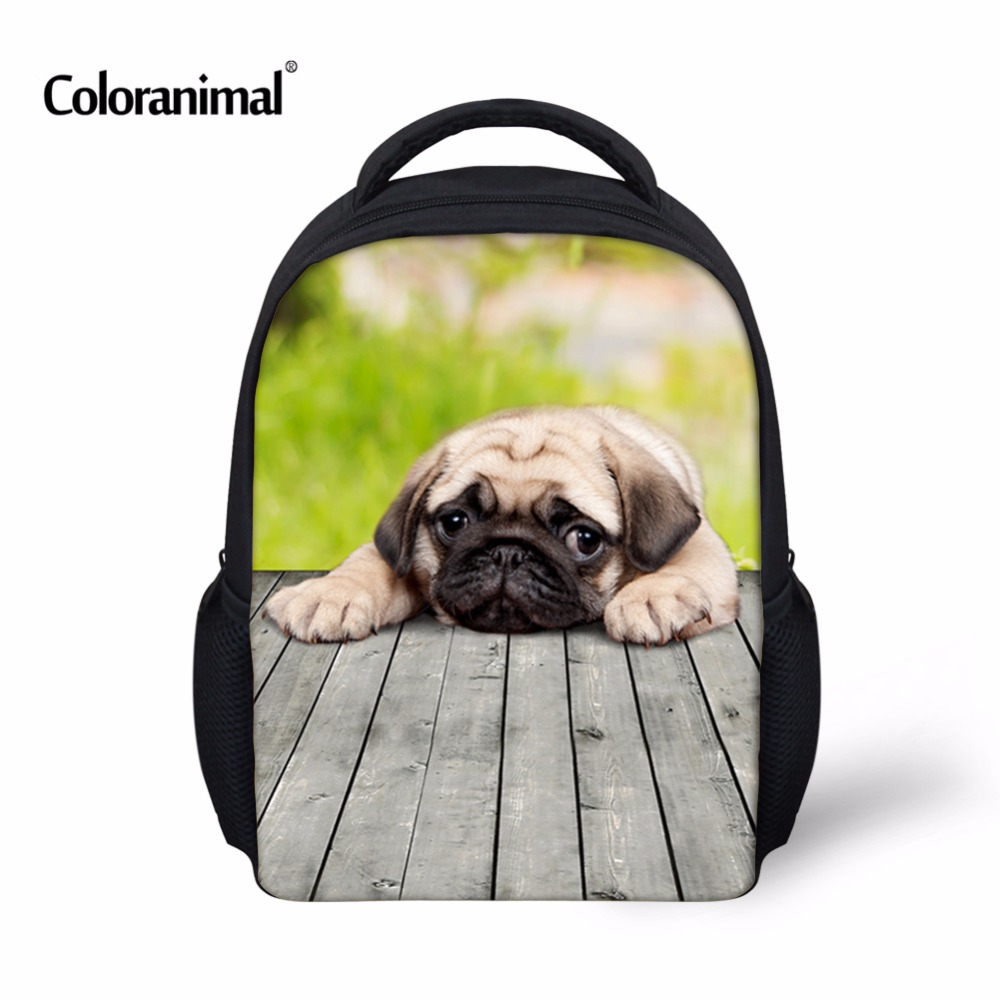 Coloranimal 3D Pug Dog Print Children Small School Bags Baby Toddler Book Backpack Kids  ...