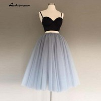Two Piece Spaghetti Straps A Line Gray Tulle Homecoming Dress Sweetheart Tulle Cocktail Dresses Party Gowns For Graduation