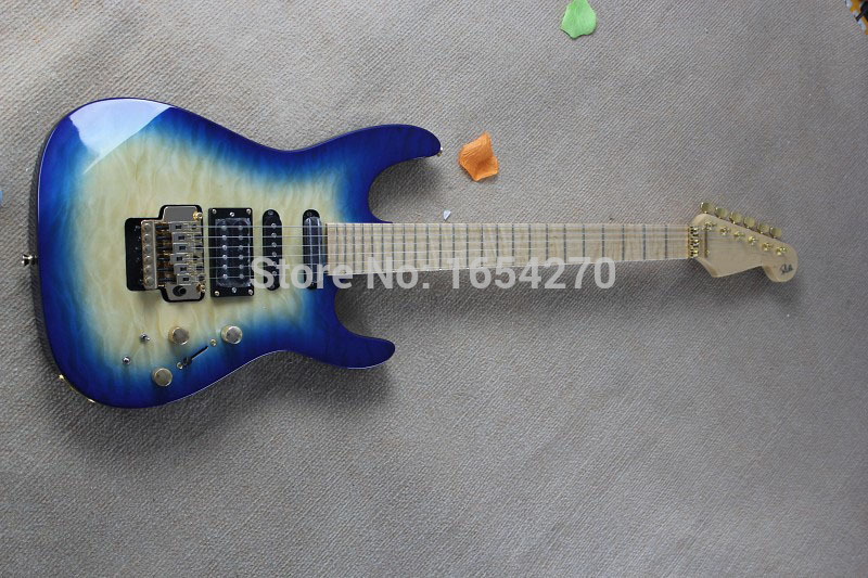 Free shipping Wholesale High Quality white blue jackson guitar gold hardware with tremolo system Electric Guitar 150903 free delivery high quality custom store electric guitar silver hardware ebony lp guitar wholesale and retail real photos
