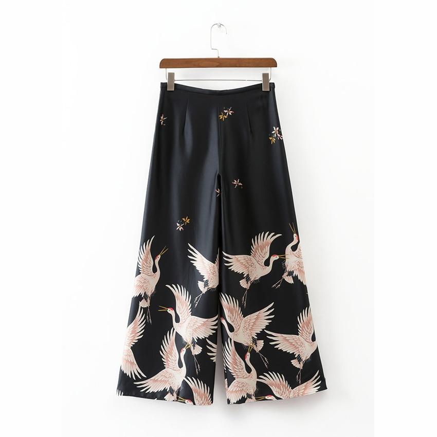 Loose Style Japanese Harajuku Women Wide Leg Cropped Trousers Crane Print Female Elastic Autumn Oriental Chinese Pants