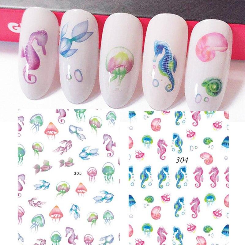 Новое поступление, модные наклейки для дизайна ногтей, разноцветные наклейки для ногтей с морским коньком, рыбой, цветком, декоративные мат...