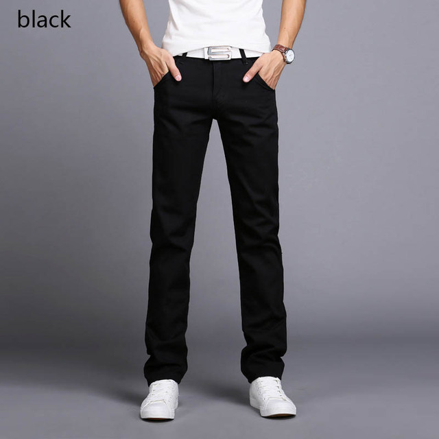 2019 New Design Casual Men Pants Cotton Slim  Pant Straight Trousers Fashion Business Solid Khaki Black jeans Men Plus Size 38