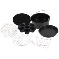 7 Pcs 8 Inch Cooking Gadgets Accessories Air Fryer Baking Cooking Kitchen Set Bread Holder Cake Pizza Stand Cupcake pan