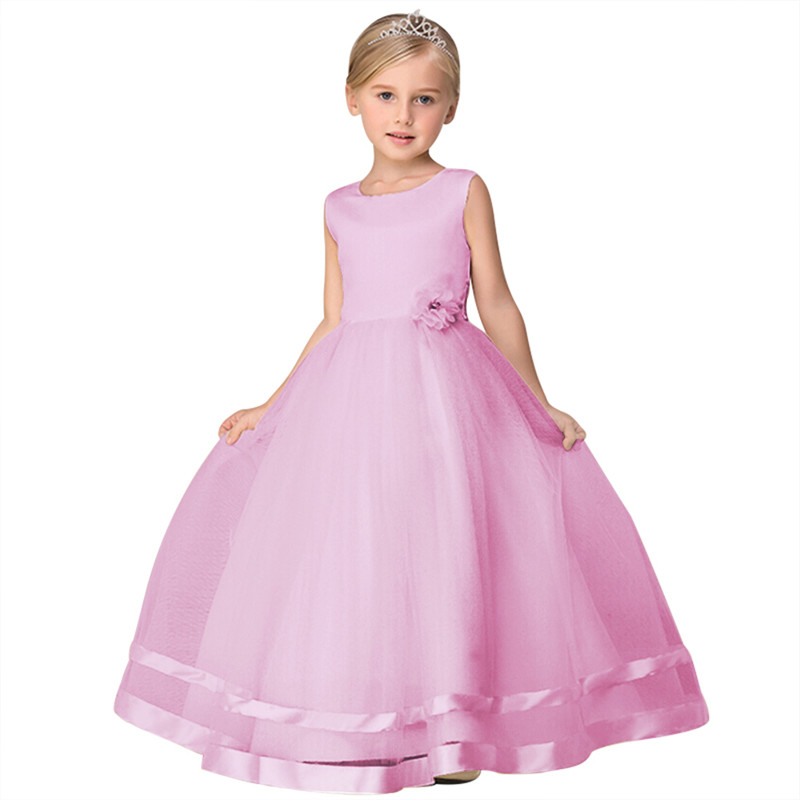 New Arrival Little Girl Evening Ball Gown Scoop Neck Formal Wear For