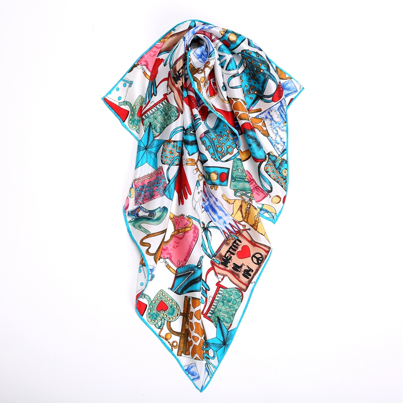 Fashon Print 100% Silk   Scarf   Neckerchief Bandana Luxury Small Square Silk   Scarves     Wraps   Foulard High Quality Hand Rolled