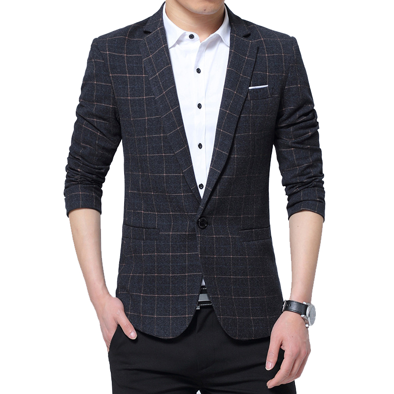 New Men Blazers 4XL 5XL 2019 Spring British Style Plaid Male Slim Fat Business Casual Blazer Coat Men Brand Outwear Jacket BF771
