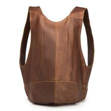 Genuine Leather Mens Mini Backpack Women Business Messenger Retro Casual Tote Bag Pack Shoulder Travel Men Cowhide Hand