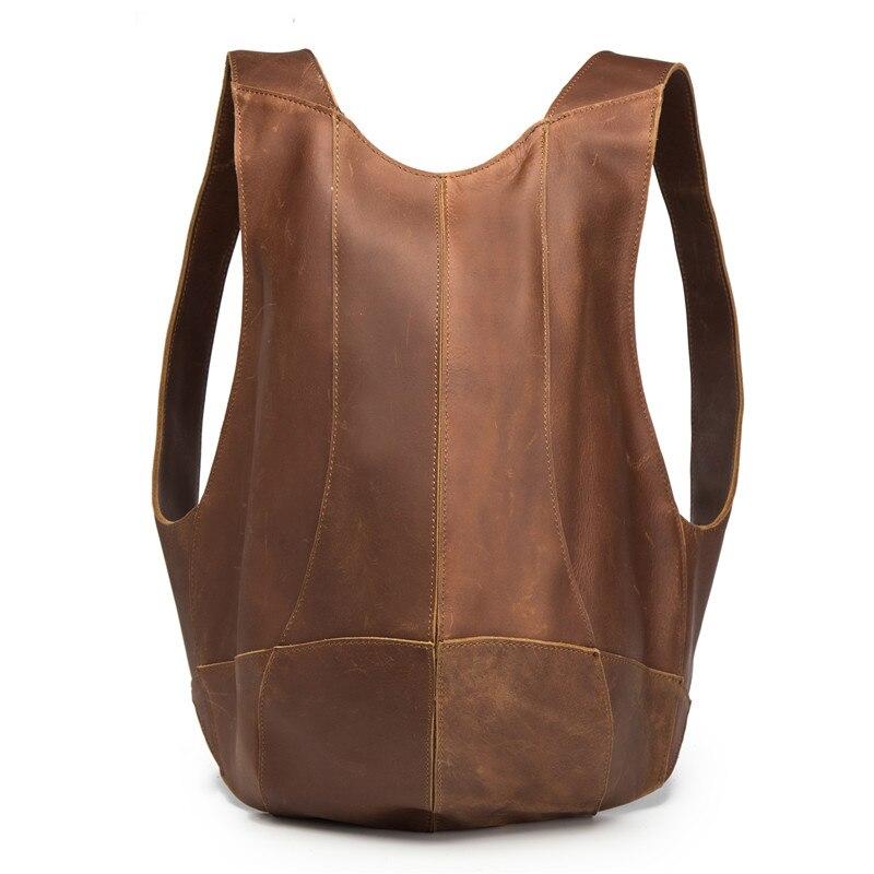 Genuine Leather Men's Mini Backpack Women Business Messenger Retro Casual Tote Bag Pack Shoulder Travel Bag Men Cowhide Hand Bag