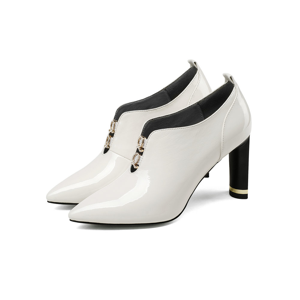 Mujer Heels black Cuero Plataforma Deslizamiento Zapatos Aiweiyi Otoño Blanco Primavera Estrecha Punta Negro Genuino Thin Bombas High En Tacones White X6x6TH