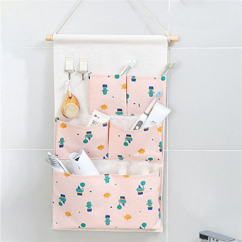 New Hanging Storage Bag Multiple Pockets Storage Hanging Bag Wall Mounted Door Pouch Room Organizer Underwear Socks Bag#25j10 (1)