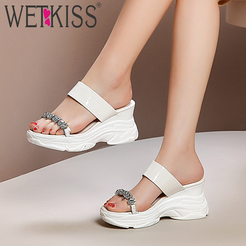WETKISS Transparent Pvc Crystal Slippers Woman Wedges Footwear Slides Platform Shoes Female Leather Mules Shoes Women
