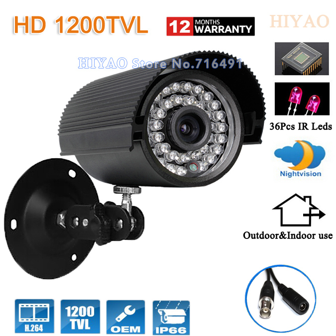 Free shipping 1/2.5 CMOS 1200tvl 36IR night vision Color IR Outdoor Waterproof Security  CCTV Camera with Bracket hot selling 900tvl 1 4 cmos cctv camera night vision 24pcs infrared led light color image security camera with free shipping