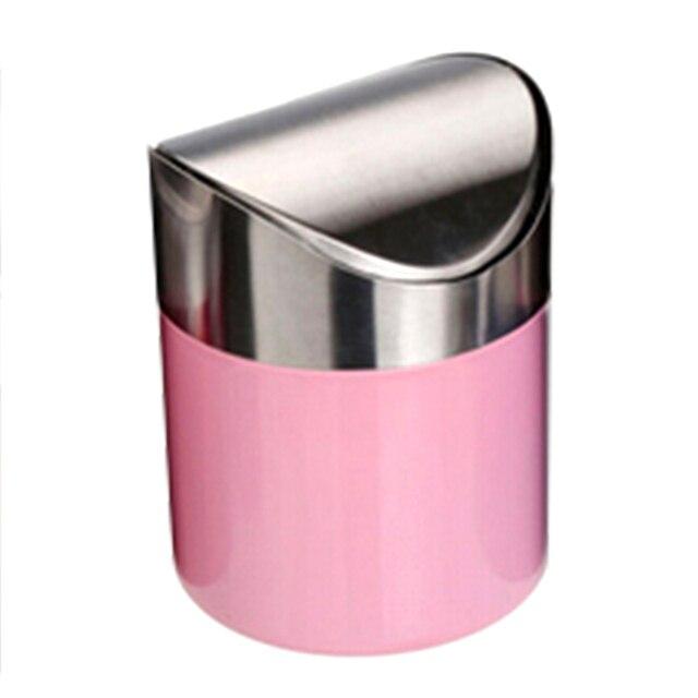 Colorful Top Quality Stainless Steel Trash Bin 1.5L Mini Car DustBin Swing  Lid Kitchen Worktop