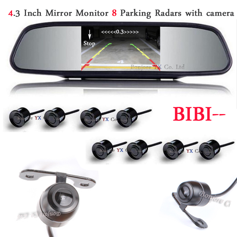 4.3 Car Mirror Monitor Radar Parking System BIBI Alarm 8 Sensors with Front View Camera + Rear view Camera set Parking Assist for ford escape maverick mariner car parking sensors rear view back up camera 2 in 1 visual alarm parking system