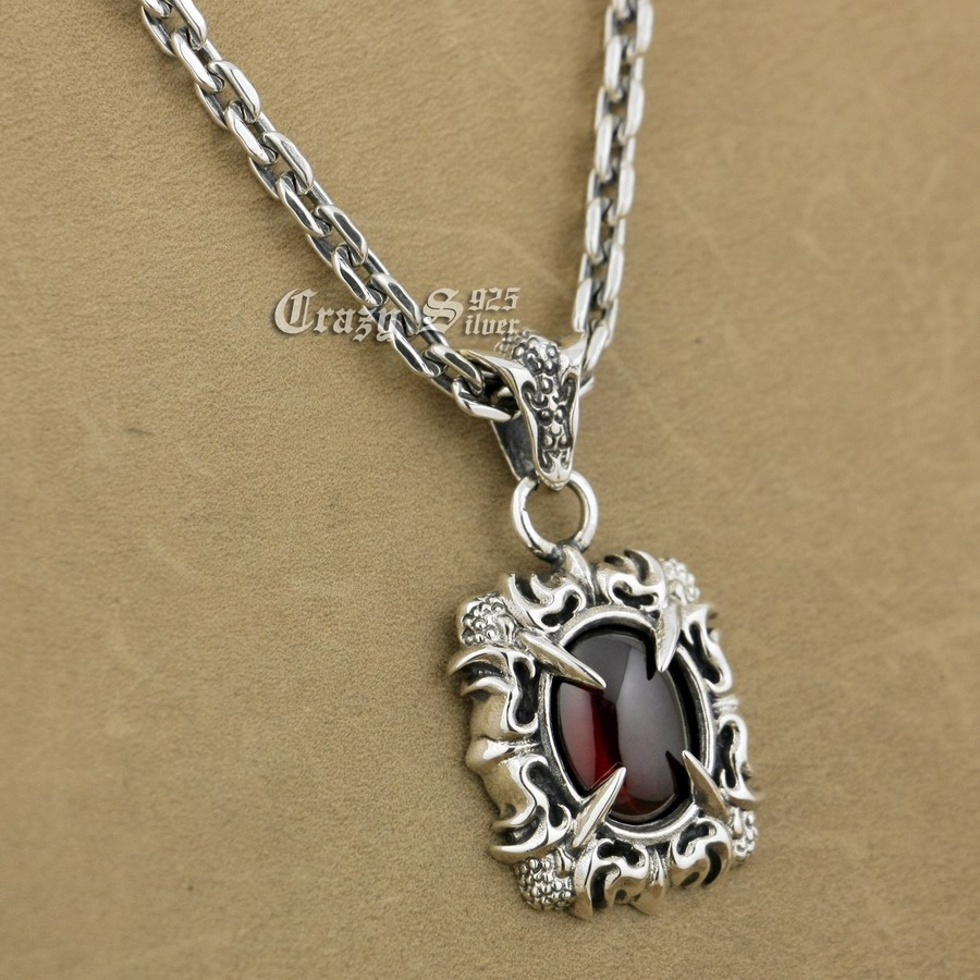 925 Sterling Silver Claw Red CZ Stone Biker Pendant 9S121A 925 Sterling Silver Necklace 24 inches 925 sterling silver lovely dumbo white cz stone pendant 9s107a 92 5