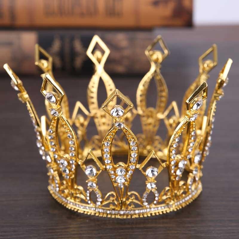 Círculo completo rei rainha coroas tiaras de noiva headpiece metal strass bandana feminino casamento acessórios de jóias cabelo lb