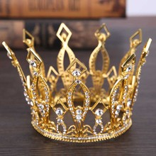 Full Circle King Queen Crowns Tiaras de Noiva Headpiece Metal Rhinestone Headband Women Wedding Hair Jewelry Accessories LB