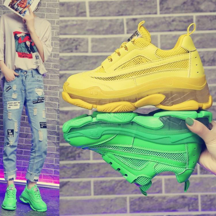 Light Yellow Green Sneakers Women Patchwork Mesh Leather Tennis Chaussures Femme Runway Crystal Clear Heels Ladies Trainer Shoes