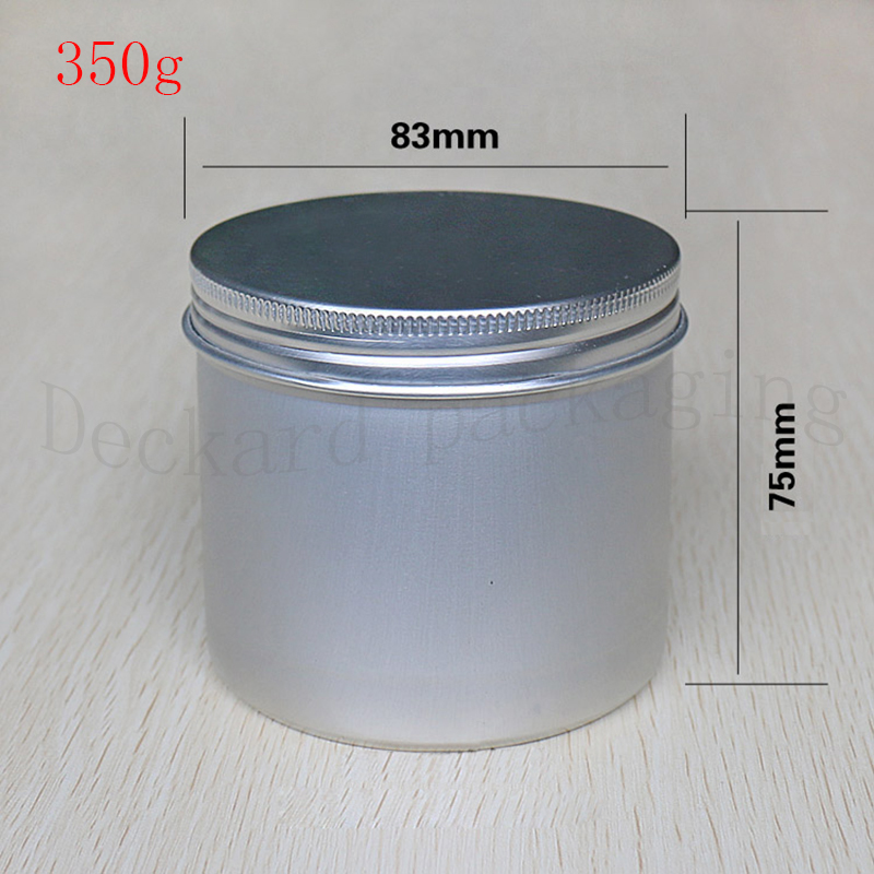 10PCS Aluminium Cosmetic jar 350g Metal Cream Jars with screw lid Silver tin container bottle candle