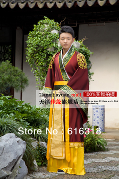 цена Ancient Chinese Emperor or Highness Folk Dance Costumes Photography or Stage Clothing for Men with Hair Accessory Free Shipping онлайн в 2017 году