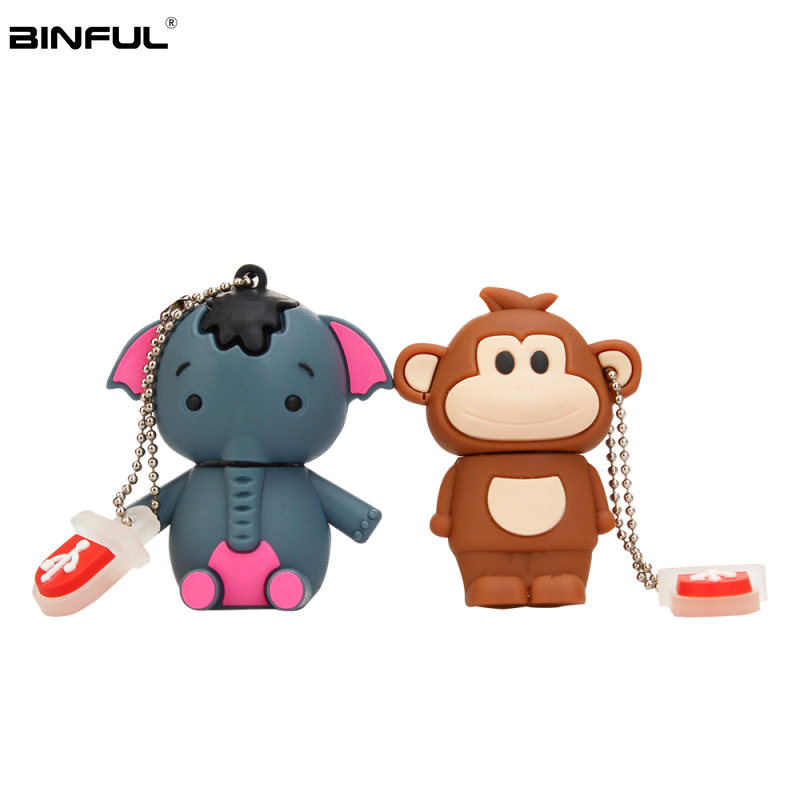 Image 2 - Pen Drive 32gb Cartoon Pink Pig/Monkey/Elephant/Koala Usb Flash Drive 64gb 128gb 16gb 8gb 4gb Pendrive Best Gift Free Shipping-in USB Flash Drives from Computer & Office