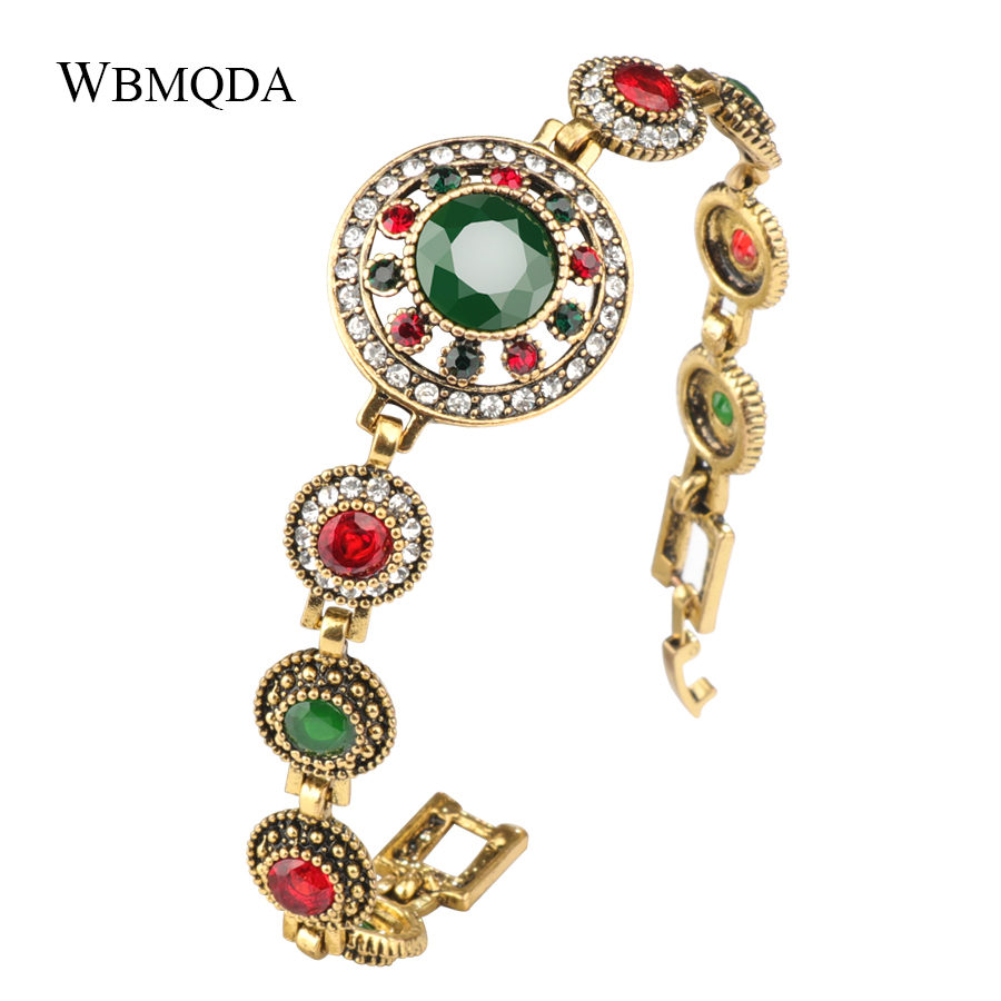 Wbmqda Fashion Big Stone Crystal Flower Bracelets For Women Antique Gold Color Indian Vintage Jewelry 2018 Turkish Bracelet