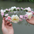 6pcs/lot Handmade Woman Girls Rose Flower Garland Wedding Party Bride Children Hair Accessories Headband Flower Crown
