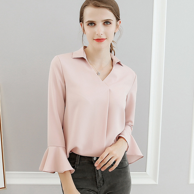 93557b66fa 2018 Spring And Summer Chiffon Blouse New Korean Fashion Clothing Women s  Tops And Blouses Trendy Casual