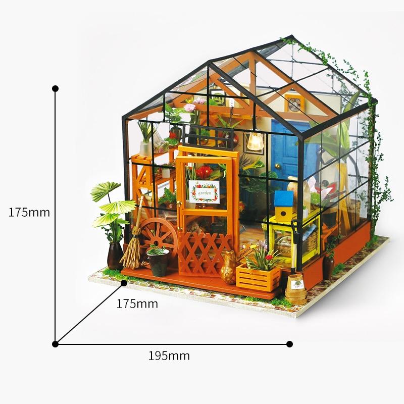 Doll House Miniature DIY Dollhouse med möbler Wooden House Leksaker - Dockor och tillbehör - Foto 4