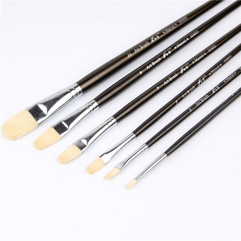 6pcs/Set Pig Mane Bristles Tongue Peak Wood Acrylic Paints Oil Paint Brush Artists Special Paint Brushes Art Supplies Stationery