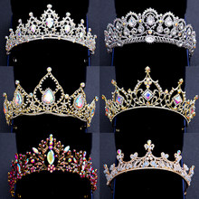 Elegant Colorful Crystal Tiaras And Crowns Silver Gold Bridal Diadems For Queen Princess Pearls Wedding Women Hair Accessories(China)