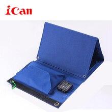 ICAN складной солнечная портативный мобильный телефон chargerwith двумя портами USB, черный 15 Вт (3.0A)