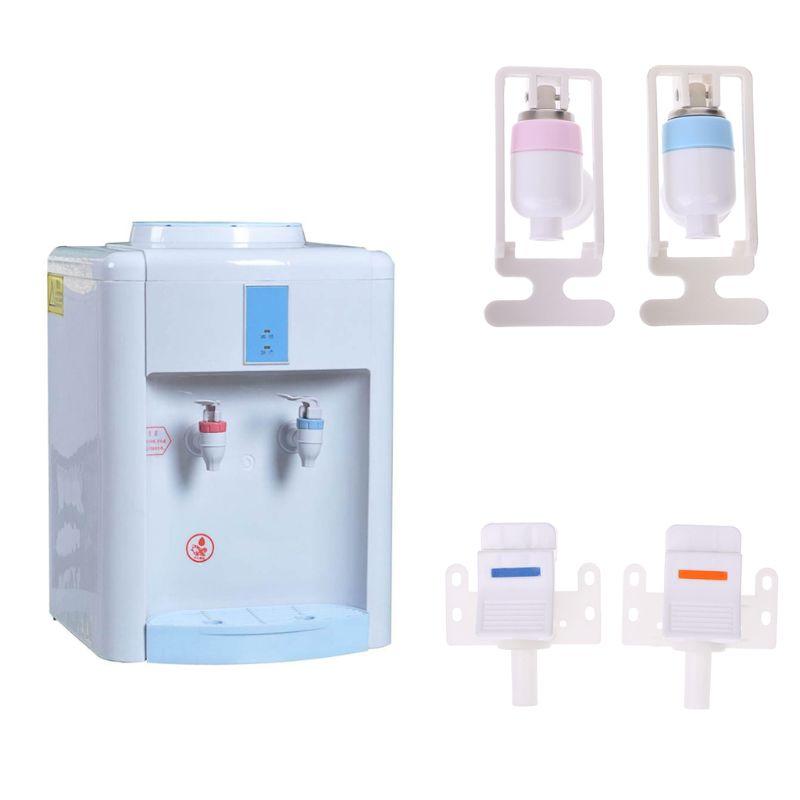 2 Pcs Push Type Replaceable Blue White Plastic Tap for Water Dispenser