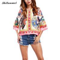 Women Blouse Autumn Ladies Blouses 2017 Embroidered Vintage Blouse Chiffon Shirt Short Sleeve Female Women Blusas