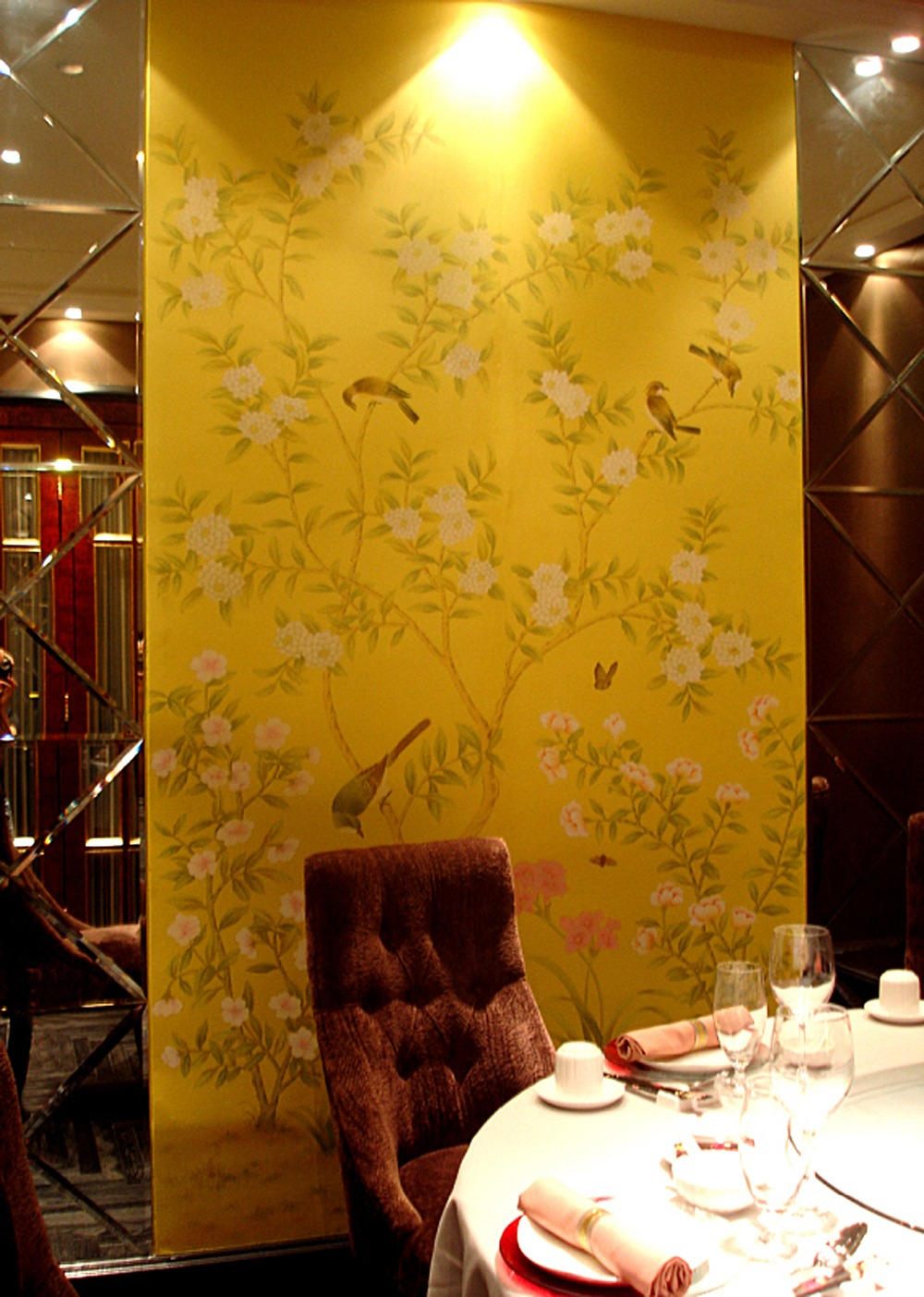 Hand painted silk wallpaper painting flower with bird hand painted ...