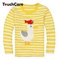 Alta Calidad Otoño Invierno Lindo Bebé de Algodón de Manga Larga camisetas Camiseta de Los Niños Embroma la Ropa Infantil Pato Amarillo