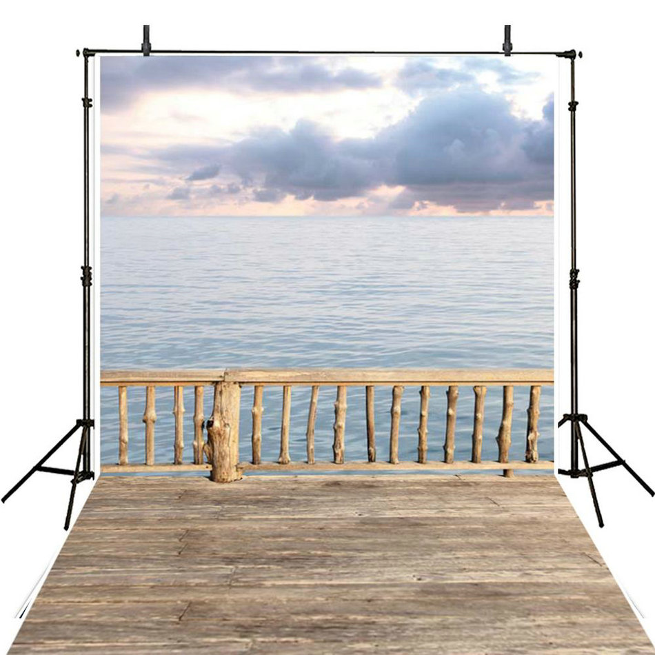 sunset clouds sea fence ocean Backgrounds Vinyl cloth High quality Computer print wall backdrop