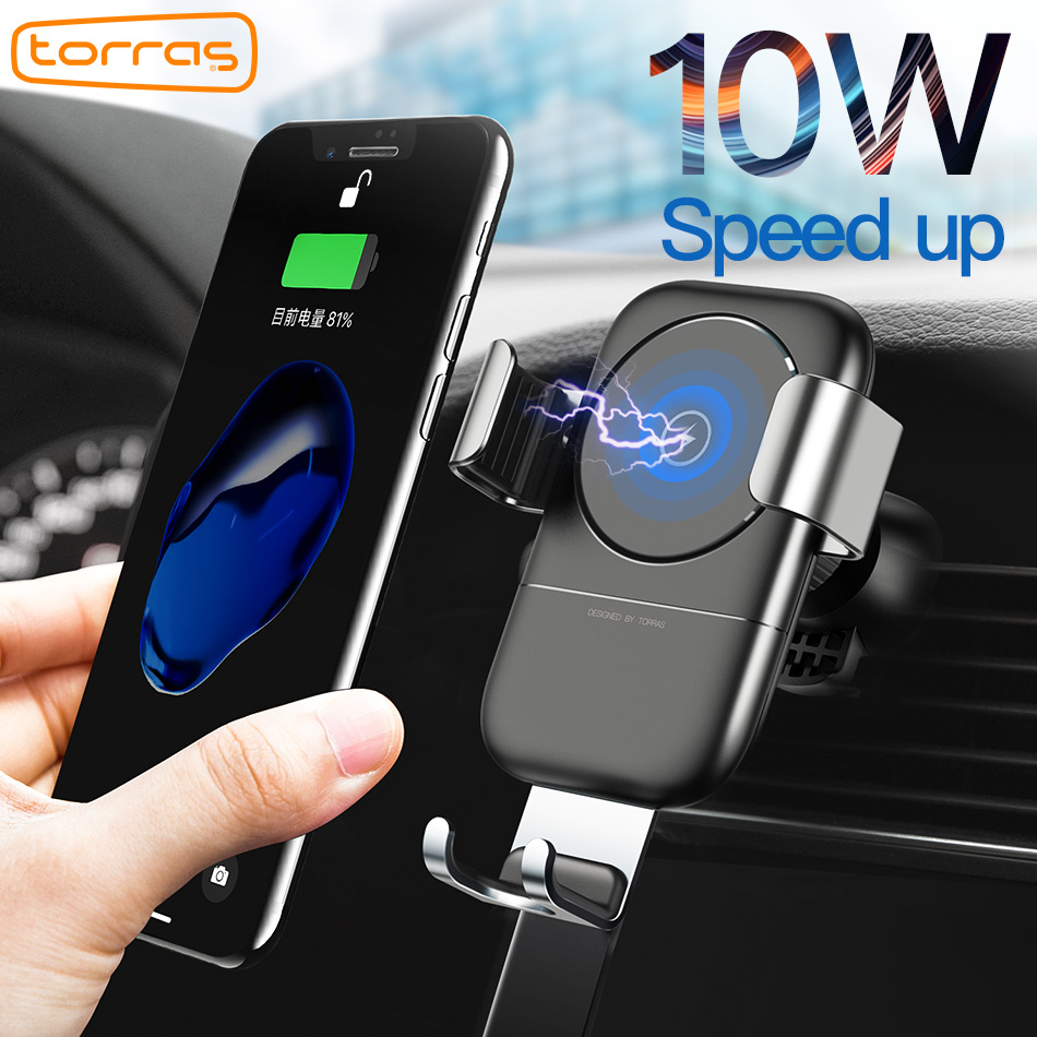 torras 10w qi wireless car charger mount phone car charger. Black Bedroom Furniture Sets. Home Design Ideas