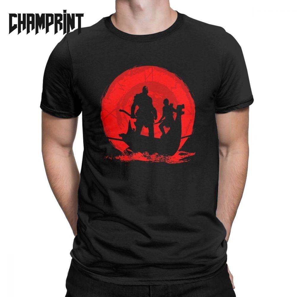 Men T-Shirt God Of War 4 Vintage 100% Cotton Tee Shirt Short Sleeve T Shirt O Neck Clothing Gift Idea Plus Size 4XL 5XL 6XL