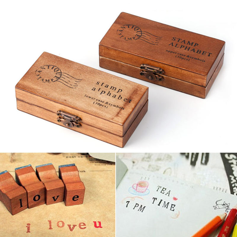 30pcs Retro Alphabet Letter Uppercase Lowercase Wooden Rubber Stamp Set Craft ...