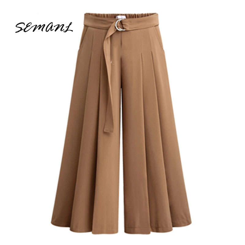 Summer European Style Casual Loose Women Wide Leg Pants Plus Size Drawstring Ladies Trousers Stretch Clothing