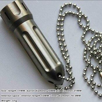 1PC EDC Titanium Alloy Rocket Waterproof Mini Storage Medicine Pill Bottle Container Keychain Pendant Can Install Tritium Tube
