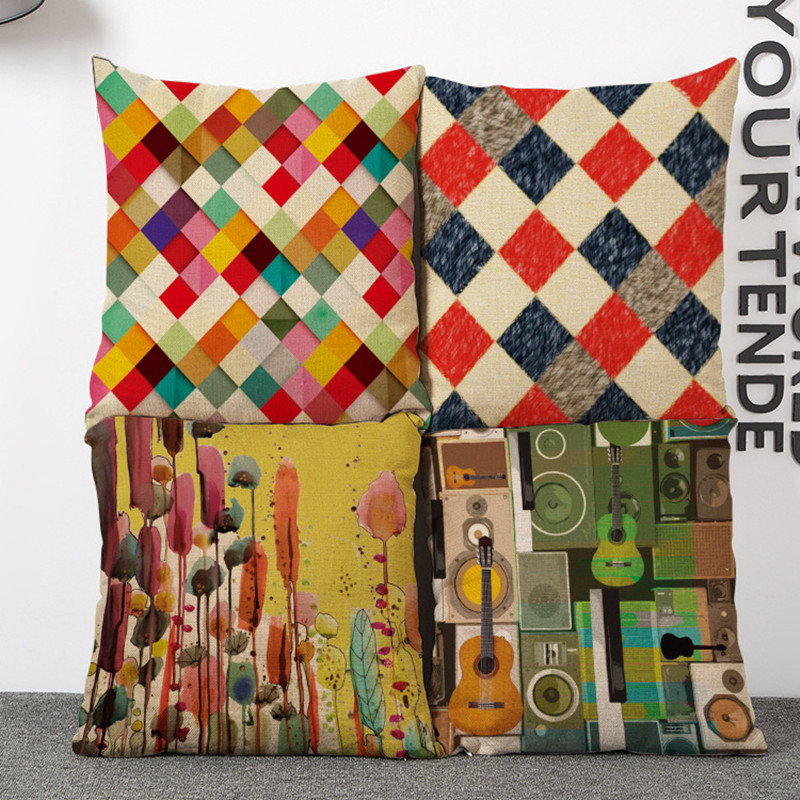 Simple Style Colorful Lattice Fringe Linen Cushion OEM Decorative Home Sofa Car Chair Throw Customized